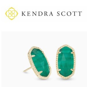Kendra Scott Gift Box + Emerald Green Gold Studs